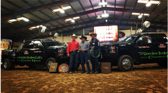 Classic Rope team member Aaron Tsinigine winning the 2015 George Strait Team Roping Classic